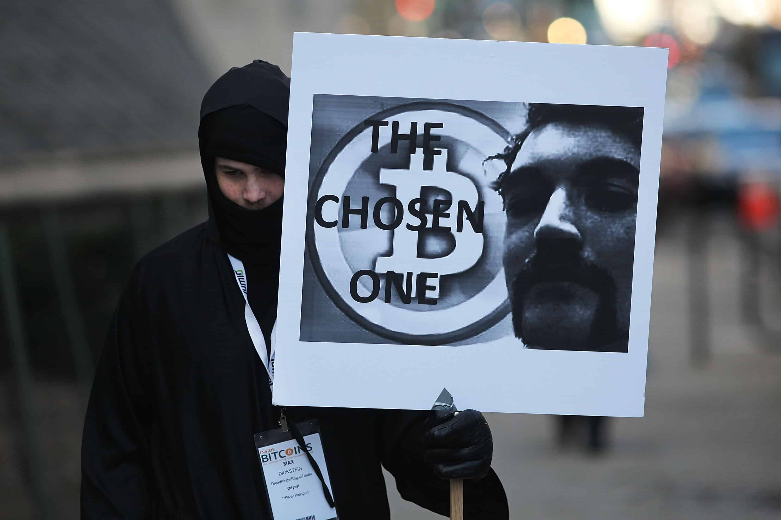 Demonstrators in New York support Ross Ulbricht, the alleged creator of Silk Road.