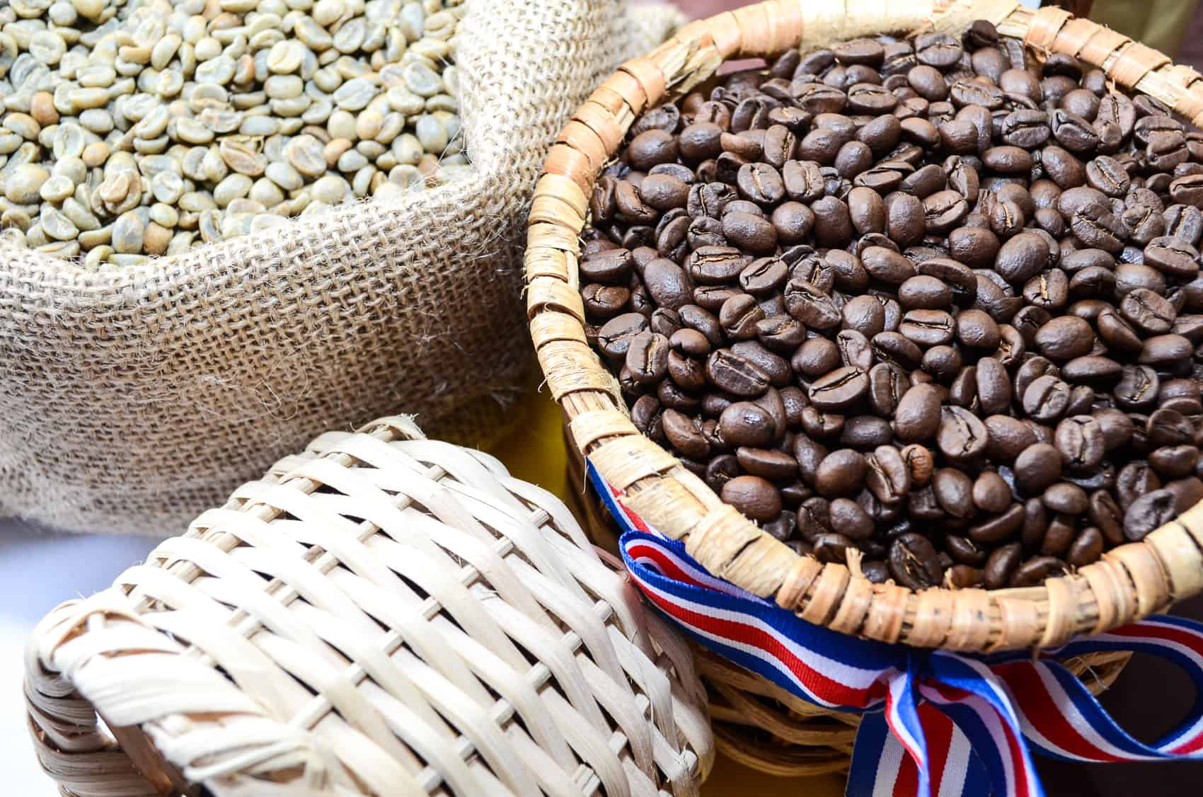 A basket of roasted coffee.