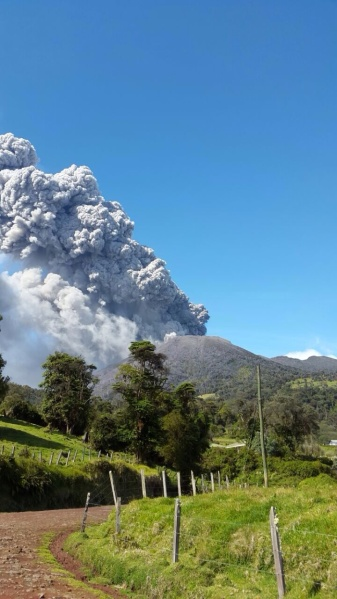 Turrialba Volcano sends up a plume of ash and gases on March 12, 2015.