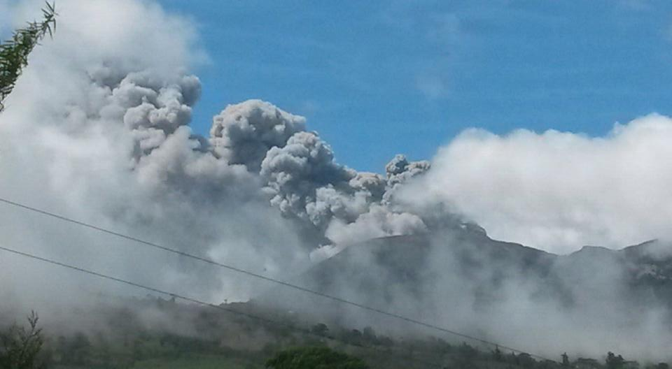 Turrialba Volcano explosion on Thursday, March 12, 2015. Photo taken from a country road.