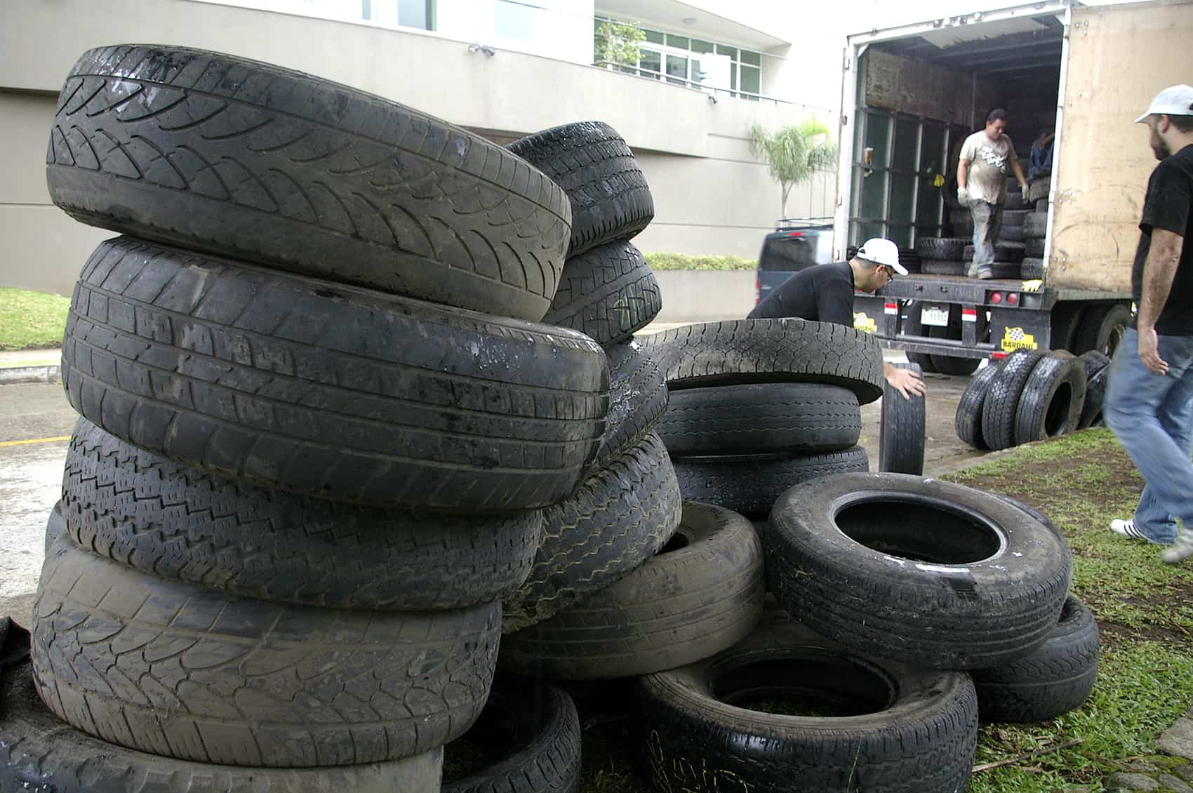 Old tires collected for recycling.