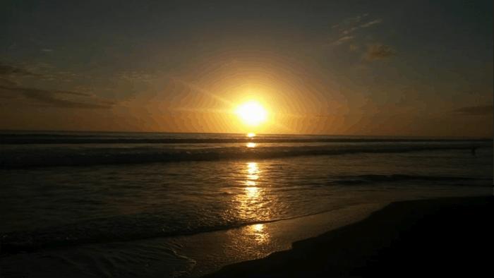 sunset on dominical beach