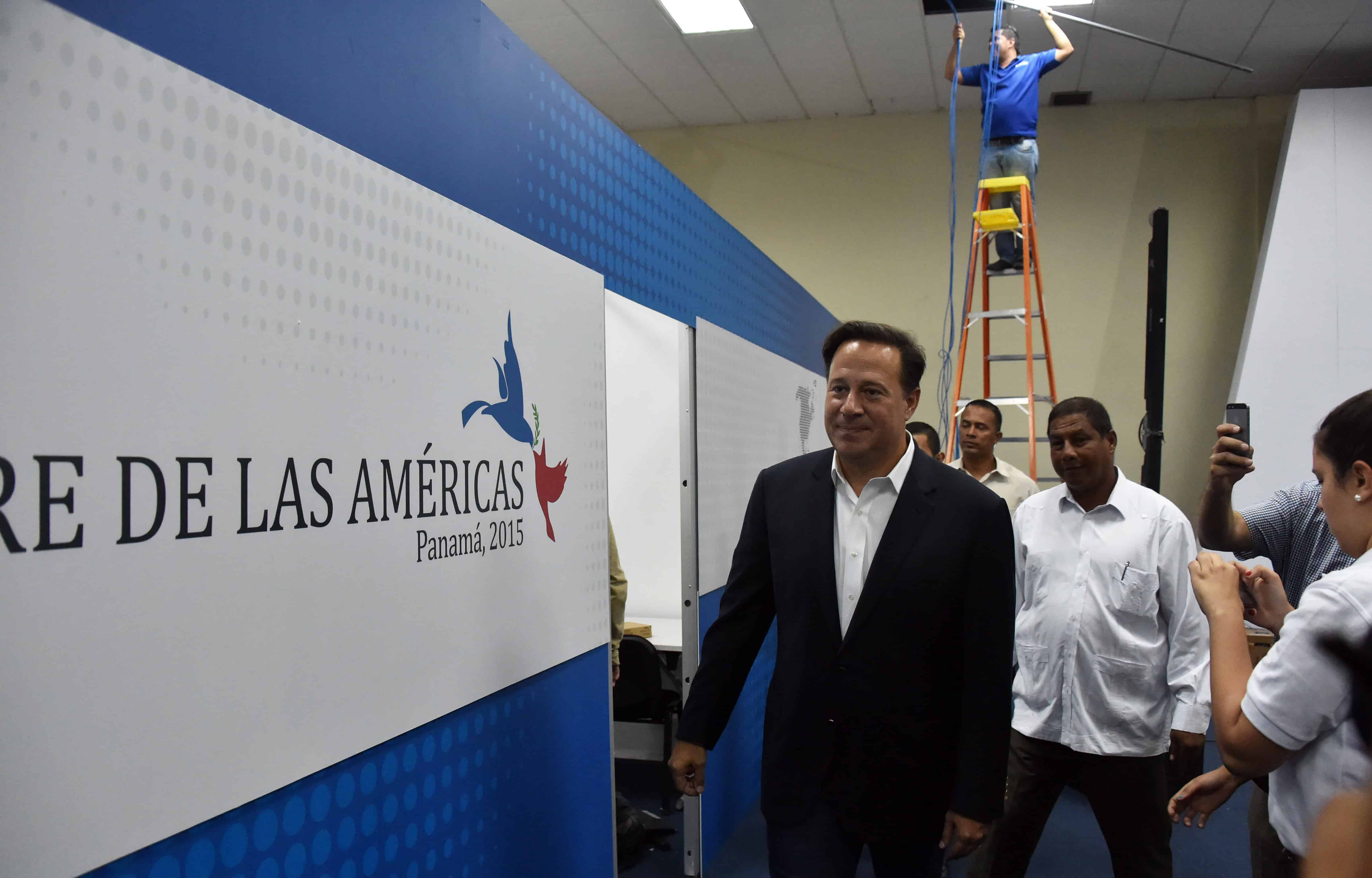 Panamanian President Juan Carlos Varela visits the Atlapa Convention Center.