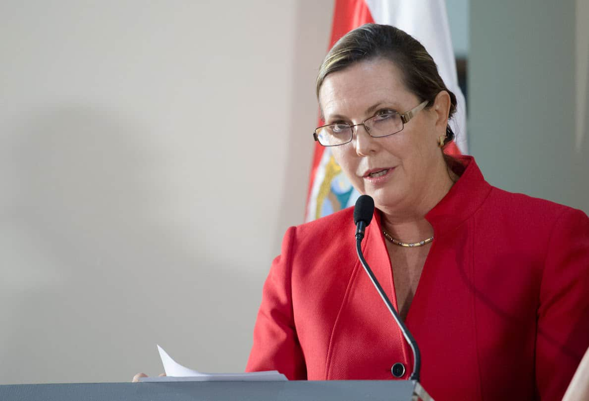 Ministry of Science, Technology and Telecommunications Gisela Kopper speaks at Casa Presidencial on Tuesday, April 7, 2015. Costa Rica politics