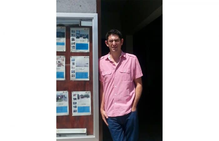 Zach Lunin at his real estate office in San Juan del Sur, Nicaragua.