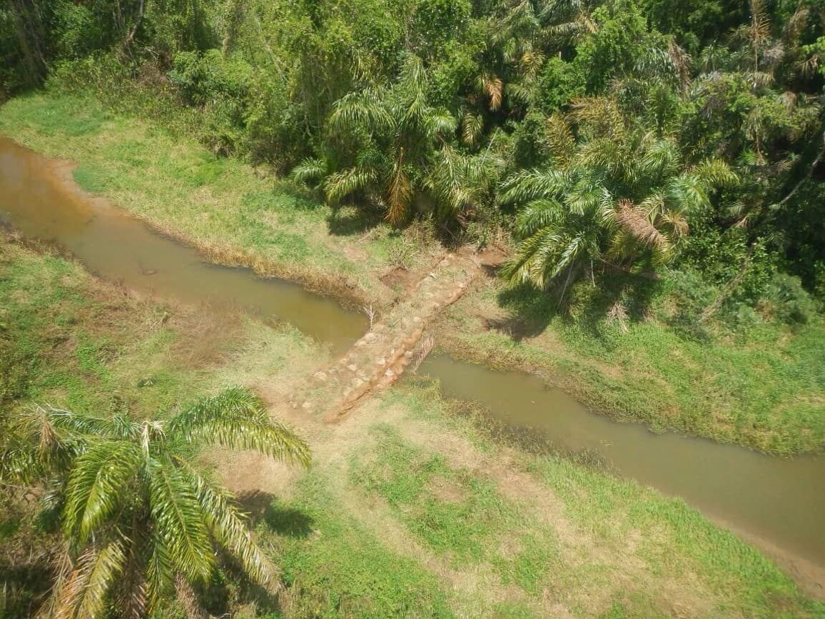 A bird's eye view of the work done by Costa Rican authorities to block the canal through Isla Portillos, April 2015.
