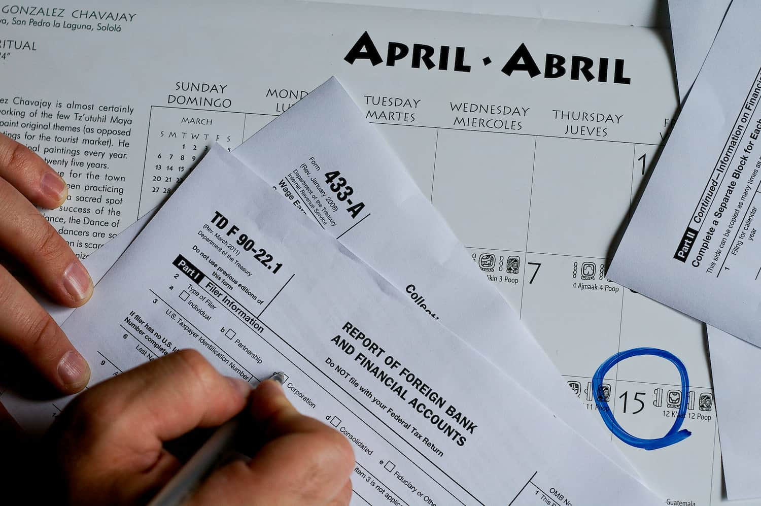Tax day, April 15, is fast approaching. U.S. tax and FBAR forms.