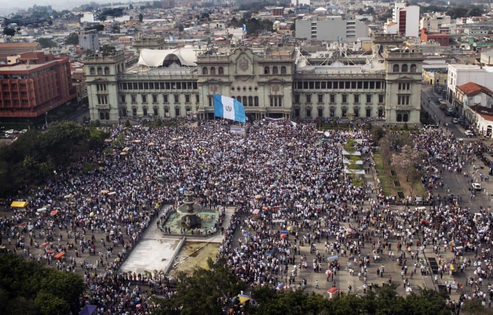 Aerial view of a protest in Guatemala City against President Otto Pérez Molina and Vice President Roxana Baldetti for the recent corruption case involving high-level officials, April 25, 2015.