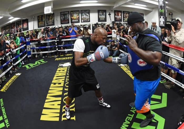 WBC/WBA welterweight champion Floyd Mayweather Jr., works out in the ring.