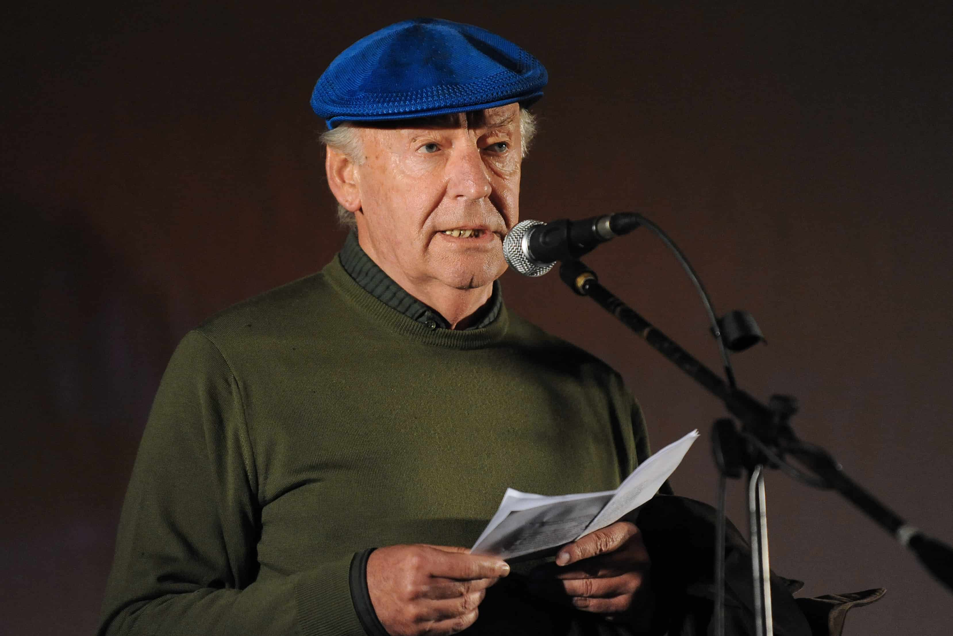 Uruguayan writer Eduardo Galeano speaks during the closing march to support the referendum to abolish an amnesty law for those involved in crimes against human rights during Uruguay's last dictatorship (1973-1984), in Montevideo on October 20, 2009. Galeano died in Montevideo on April 13, 2015 at the age of 74.