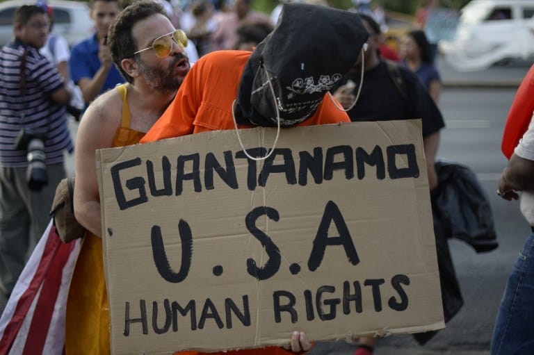 A man demonstrates against the U.S. Guantanamo prison.