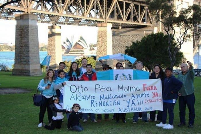 Protestors gathered in Sydney, Australia to demand the resignation of Guatemala's Pérez Molina