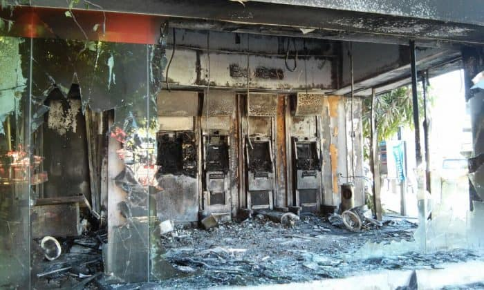 A burned bank branch in Puerto Vallarta, Jalisco, on May 1, 2015.