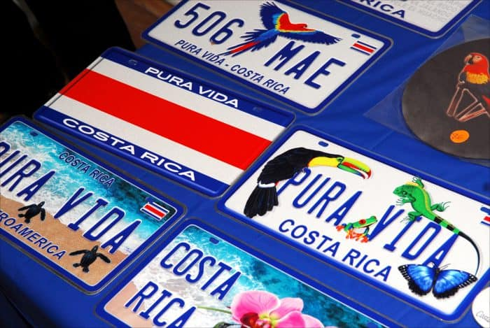 Souvenir license plates for sale.