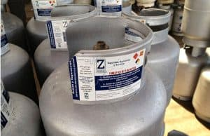 Propane gas cylinders.