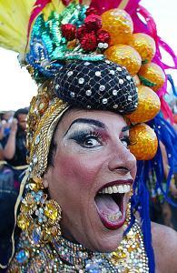 A drag queen dressed as Brazilian singer legend Carmen Miranda perform during the Carmen Miranda carnival street band parade, Feb. 23, 2003, through the Copacabana main avenue in Rio de Janeiro, Brazil.