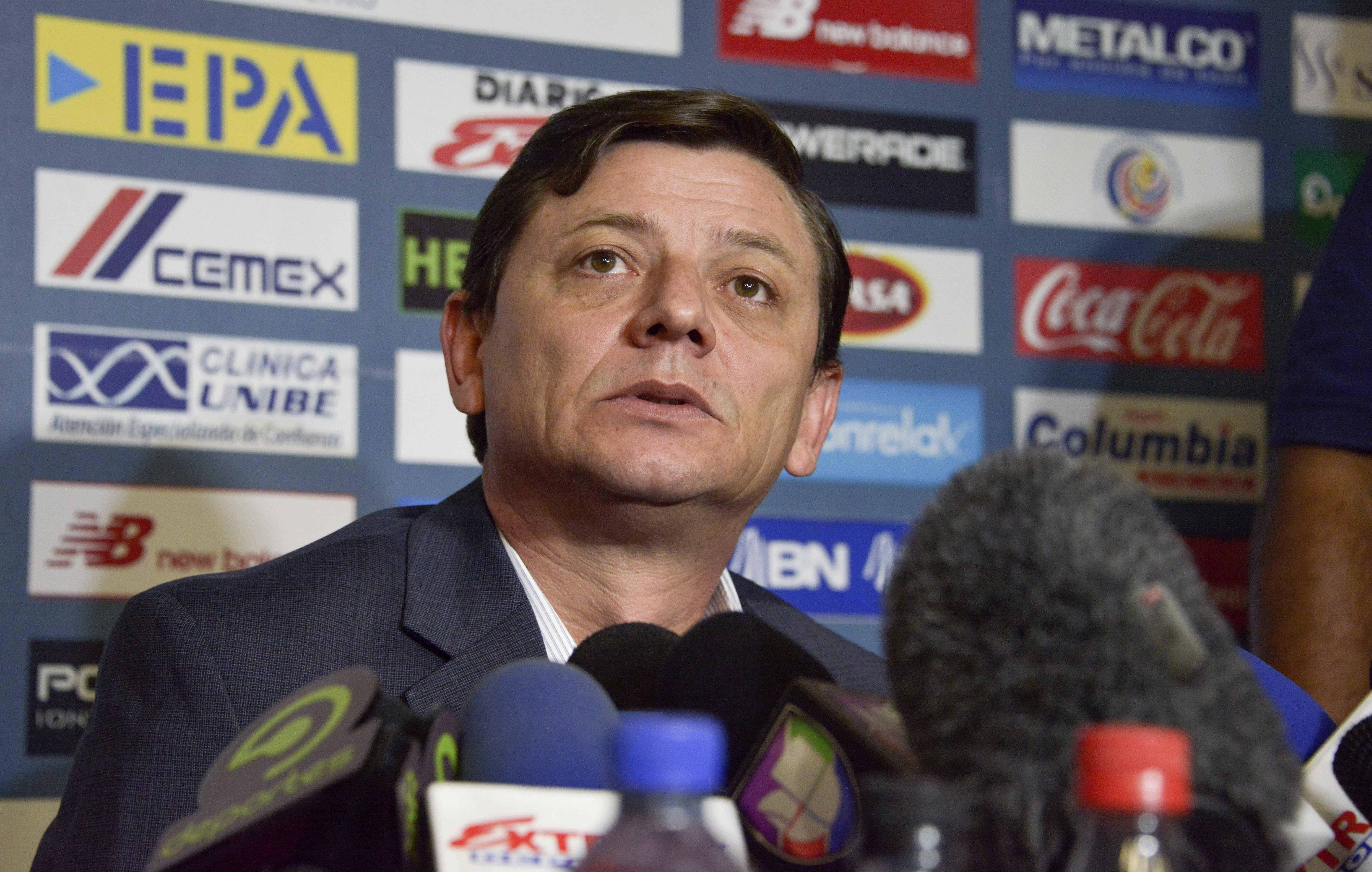 Costa Rican Football Federation acting President Jorge Hidalgo speaks during a press conference.