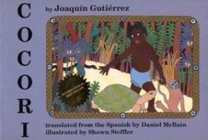An English-language version of the book presents a more stylized illustration, reminescent of artist Romare Bearden.