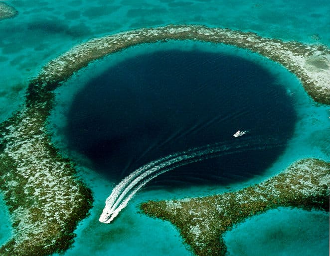 Belize's Great Blue Hole as seen from above.