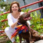 Costa Rican Vice President Ana Helena Chacón and her dog participated at the 7th March Against Animal Abuse in San José, May 10, 2015.