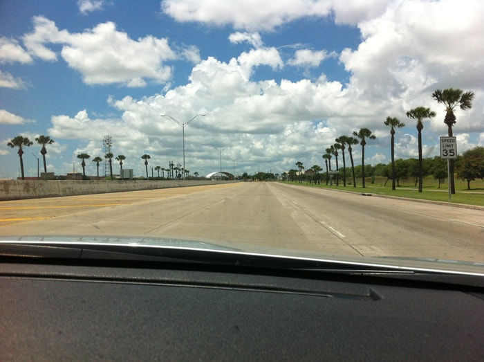 The approach to Mexico from Brownsville on the Veterans International Bridge.