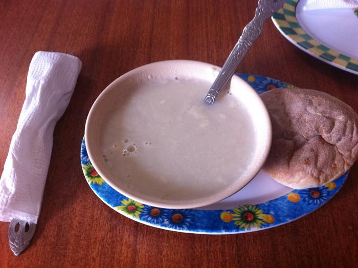 Sweet corn soup, breakfast of champions.
