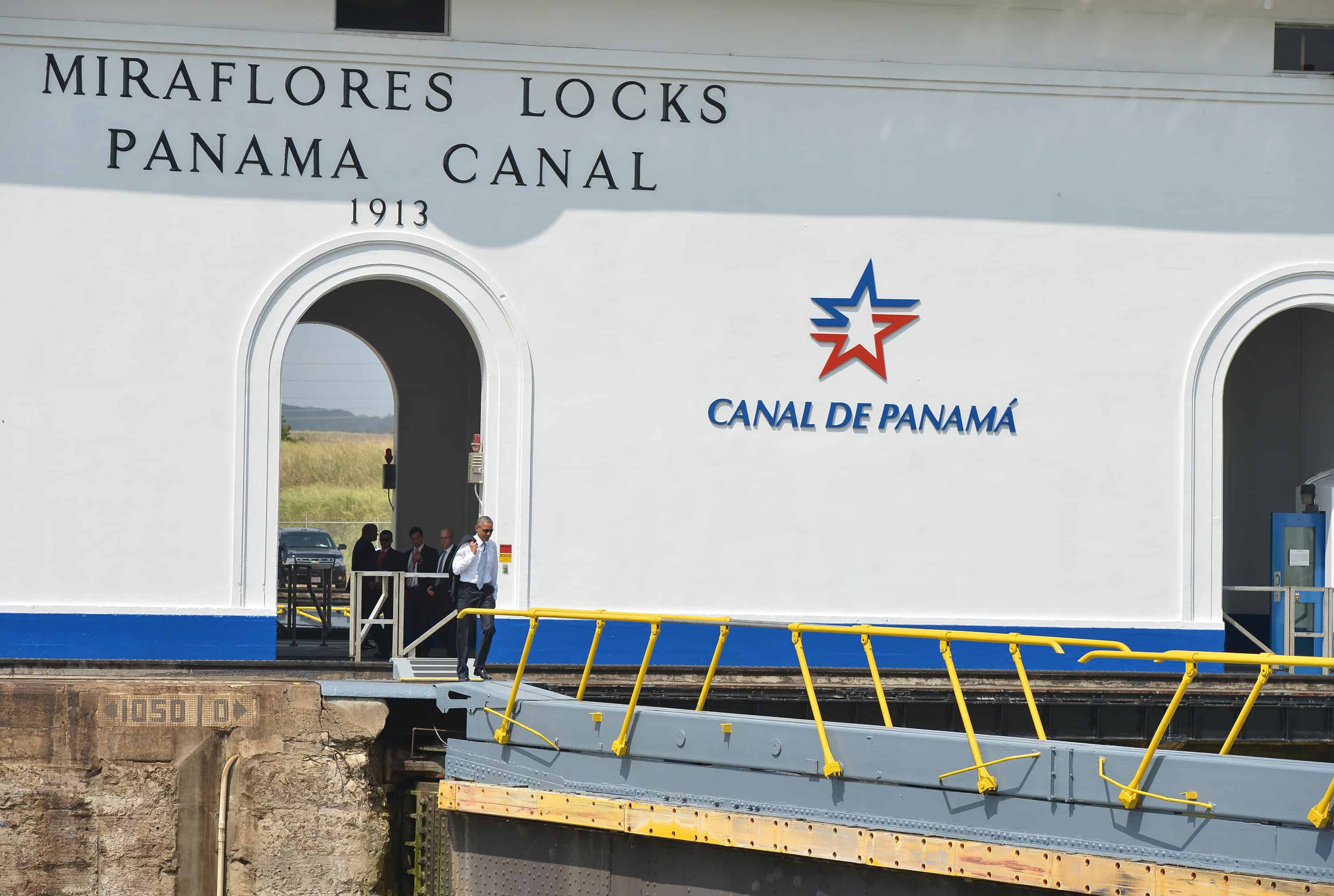 U.S. President Barack Obama tours the Miraflores section of the Panama Canal.