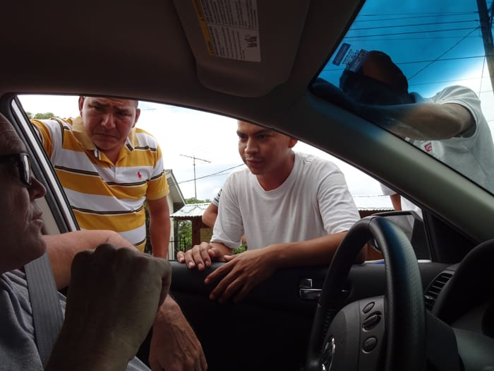 Our last fixers of the day greet us at the Honduras-Nicaragua border.