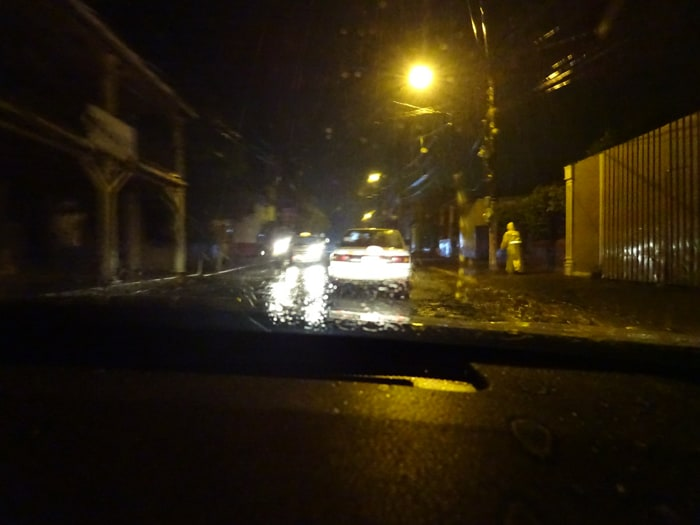 Success! Arrival in Granada on a very rainy night.