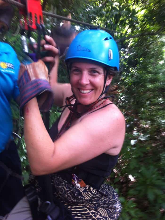 Shana Stratton, 37, of Smartsville, California, survives her first Costa Rican zipline.