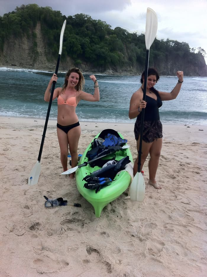 Kaitlyn O'Connor, left, and Nadia Jeljeli show off their kayaking muscles.