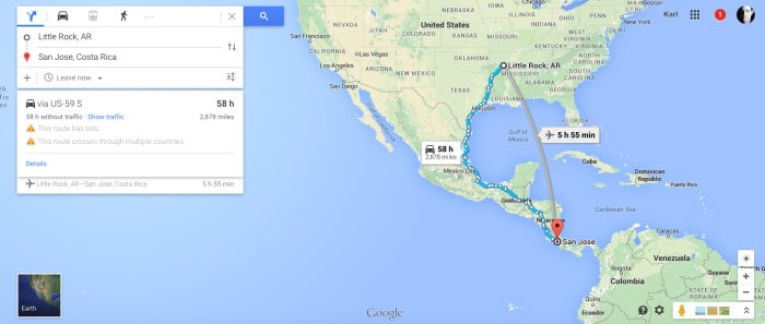 A Google map shows driving directions from Arkansas to Costa Rica.