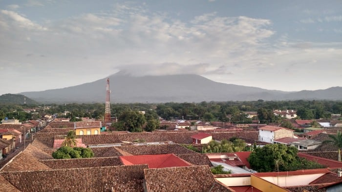 Volcán Mombacho hovers prominently over Granada, Nicaragua, which is just 10 kilometers to its north.
