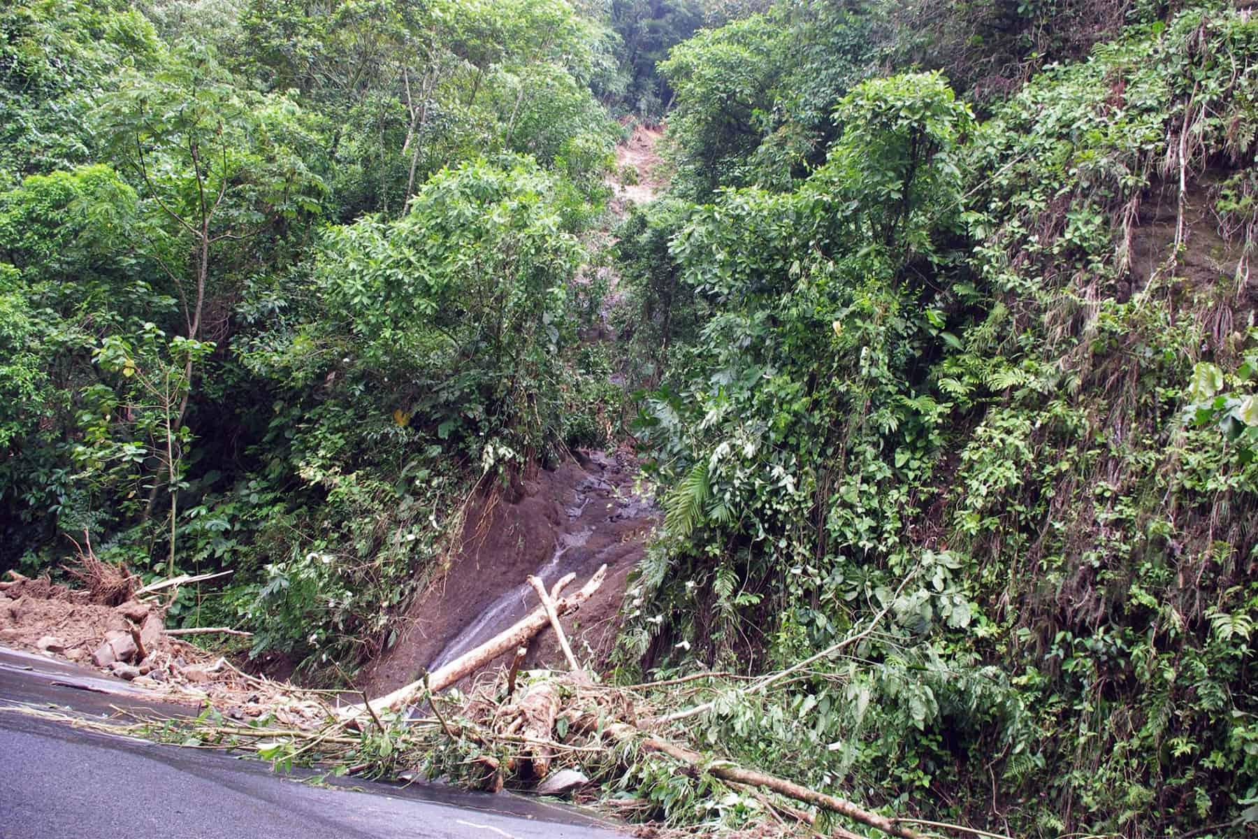 Debris along Route 32