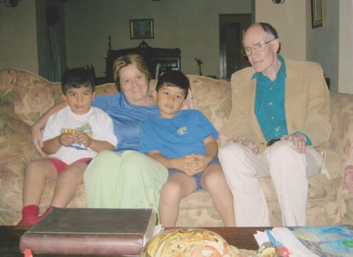 Elaine Fendell, second left, with sons Isaac, left, and David, center, and husband Henry Lanz.