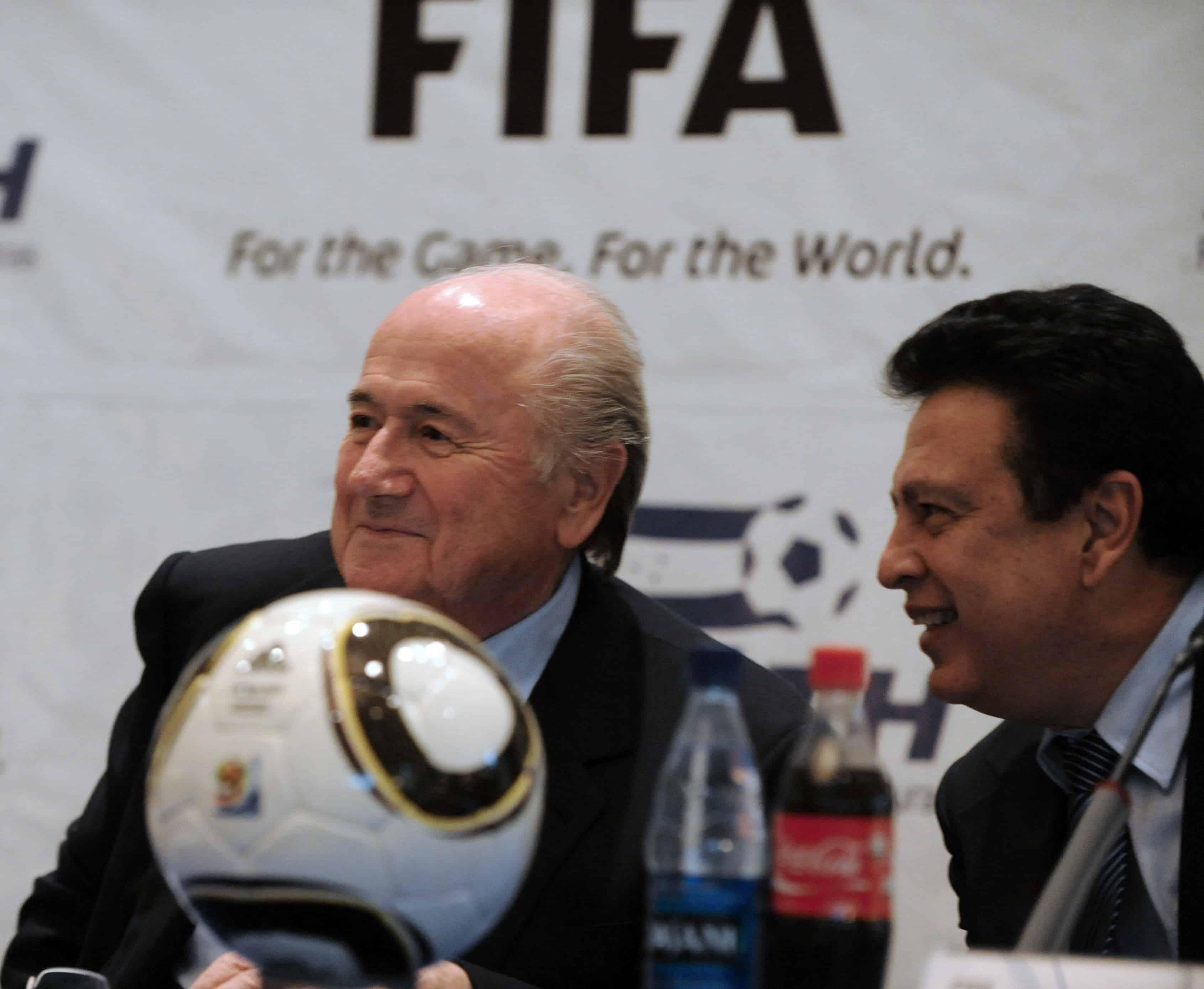 FIFA President Joseph Blatter, left, seen here with Alfredo Hawit in Honduras on April 12, 2011.