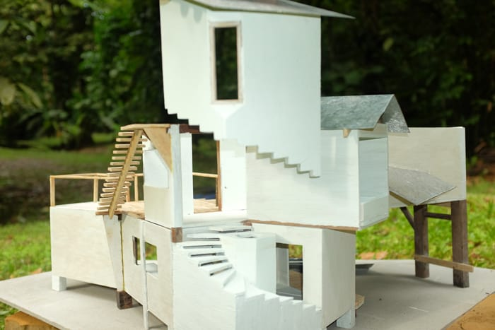 A model of a home made of shipping containers planned by Bio Caribe.