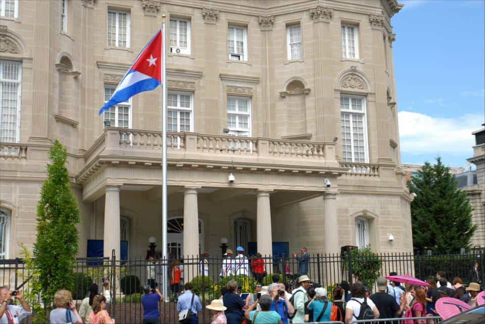 The Cuban flag was raised over the island nation's diplomatic headquarters in Washington, D.C.