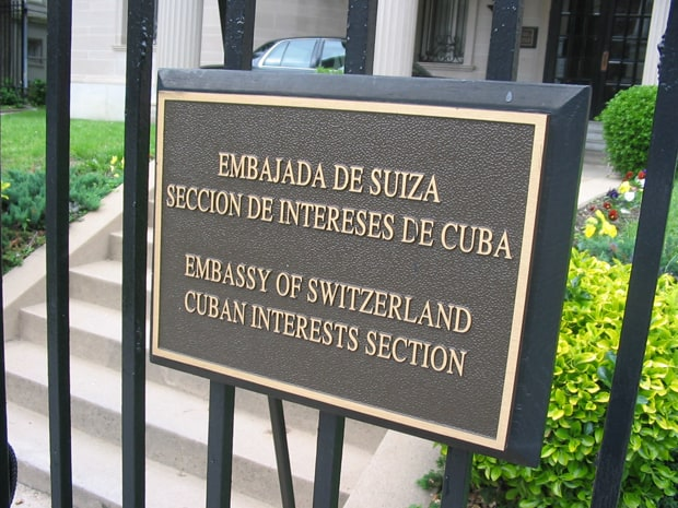 "This plaque in front of the Cuban Interests Section in Washington will soon be replaced by one that says ""Embassy of Cuba,"" July 17, 2015."