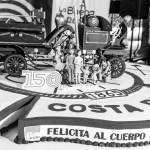 A giant cake to sing happy birthday and share among visitors to the activity at the 150 anniversary of the Costa Rican Fire Department at the Plaza de la Cultura in San José, Sunday, July 26.