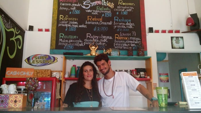 Husband and wife Niv and Noa Turgeman opened Cafe Namaste eight months ago right next to Jacó beach.