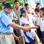President Luis Guillermo Solís visits a school affected by the floods in Siquirres, Limón on Wednesday, July 1.