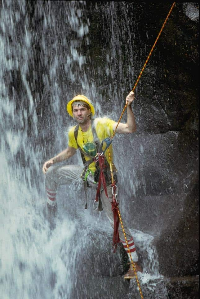 "Donald Perry, shown on the back cover of his 1986 book, ""Life Above the Jungle Floor,"" invented the jungle canopy zipline but never turned it into a business."
