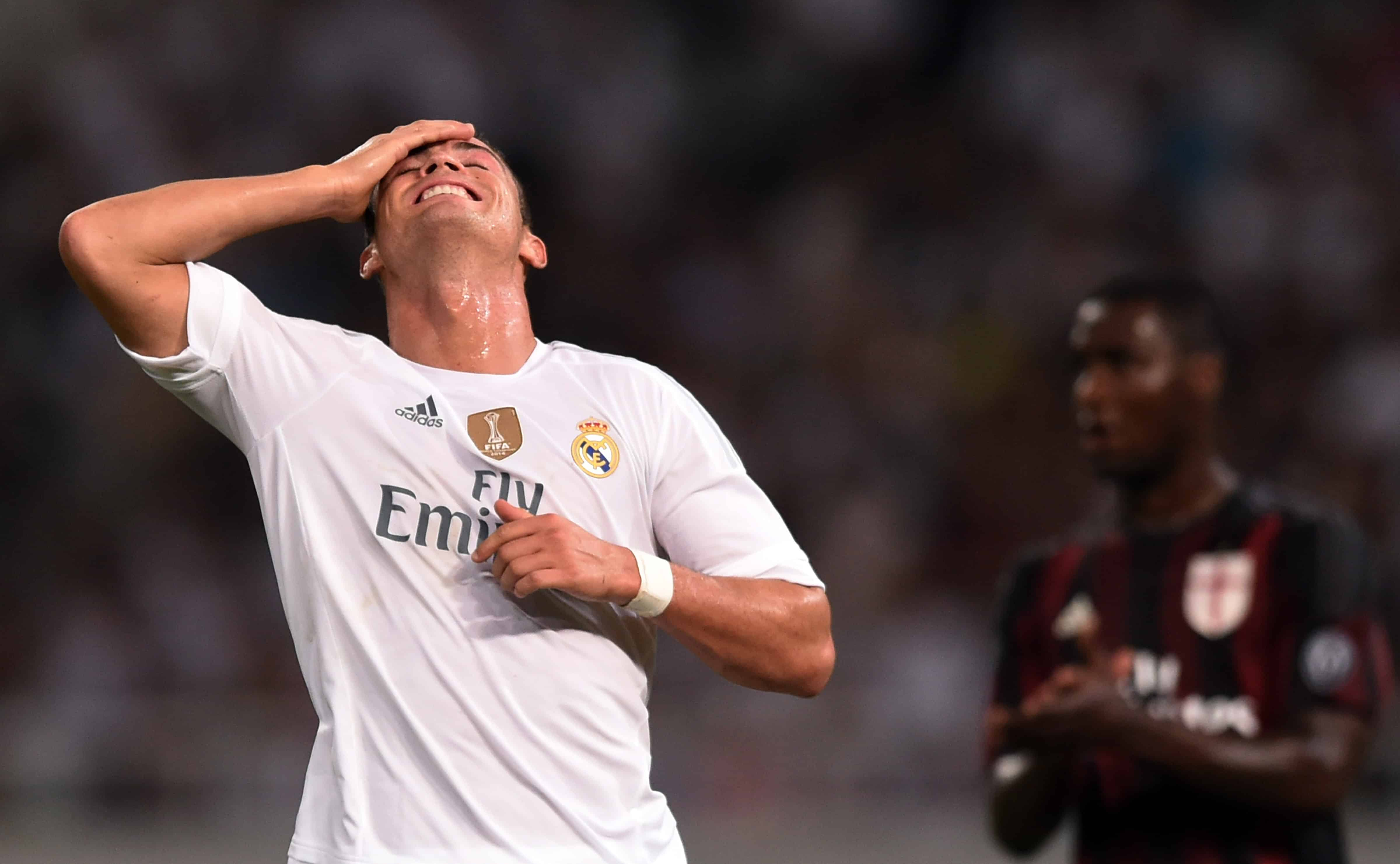 Real Madrid's Cristiano Ronaldo reacts during the International Champions Cup football match between AC Milan and Real Madrid in Shanghai on July 30, 2015.