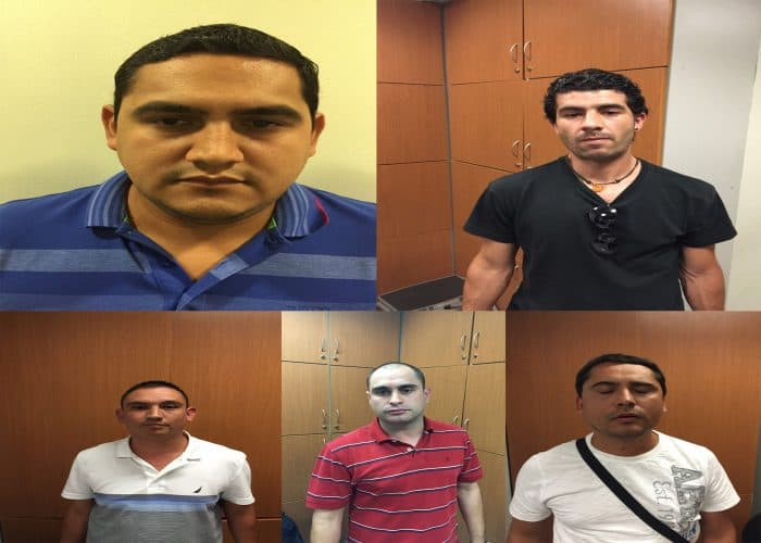 Airport photos of five Mexican nationals who entered Costa Rica in June.