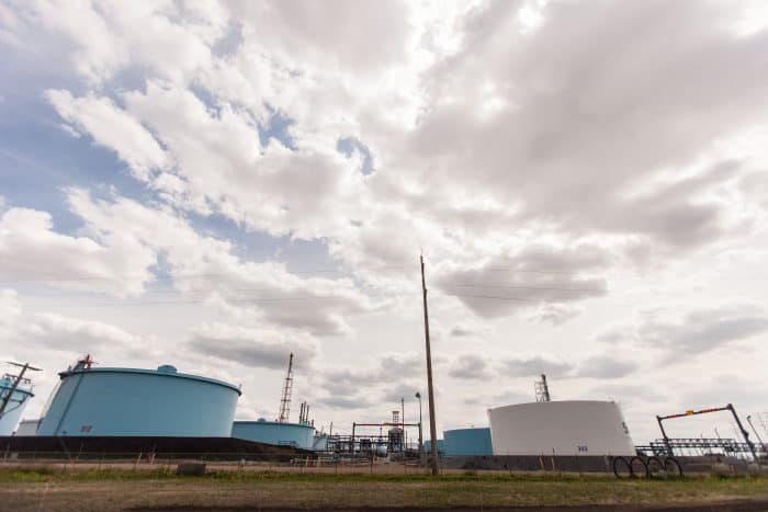 Several large Suncor storage tanks are pictured at the company's Canadian refinery in Edmonton.
