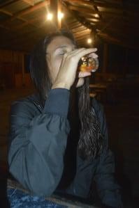 Bar customer María José Sevilla indulges in her first ever turtle egg sangrita shot.