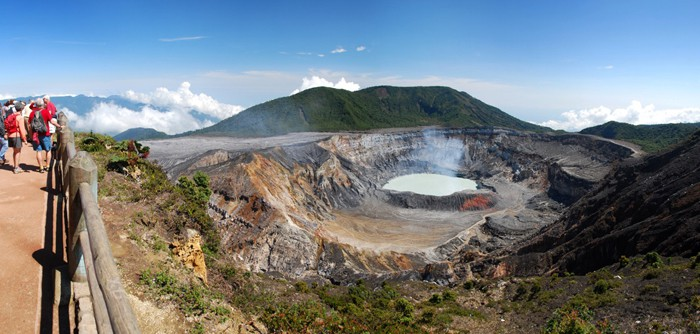 The crater of Poás Volcano on a clear day.