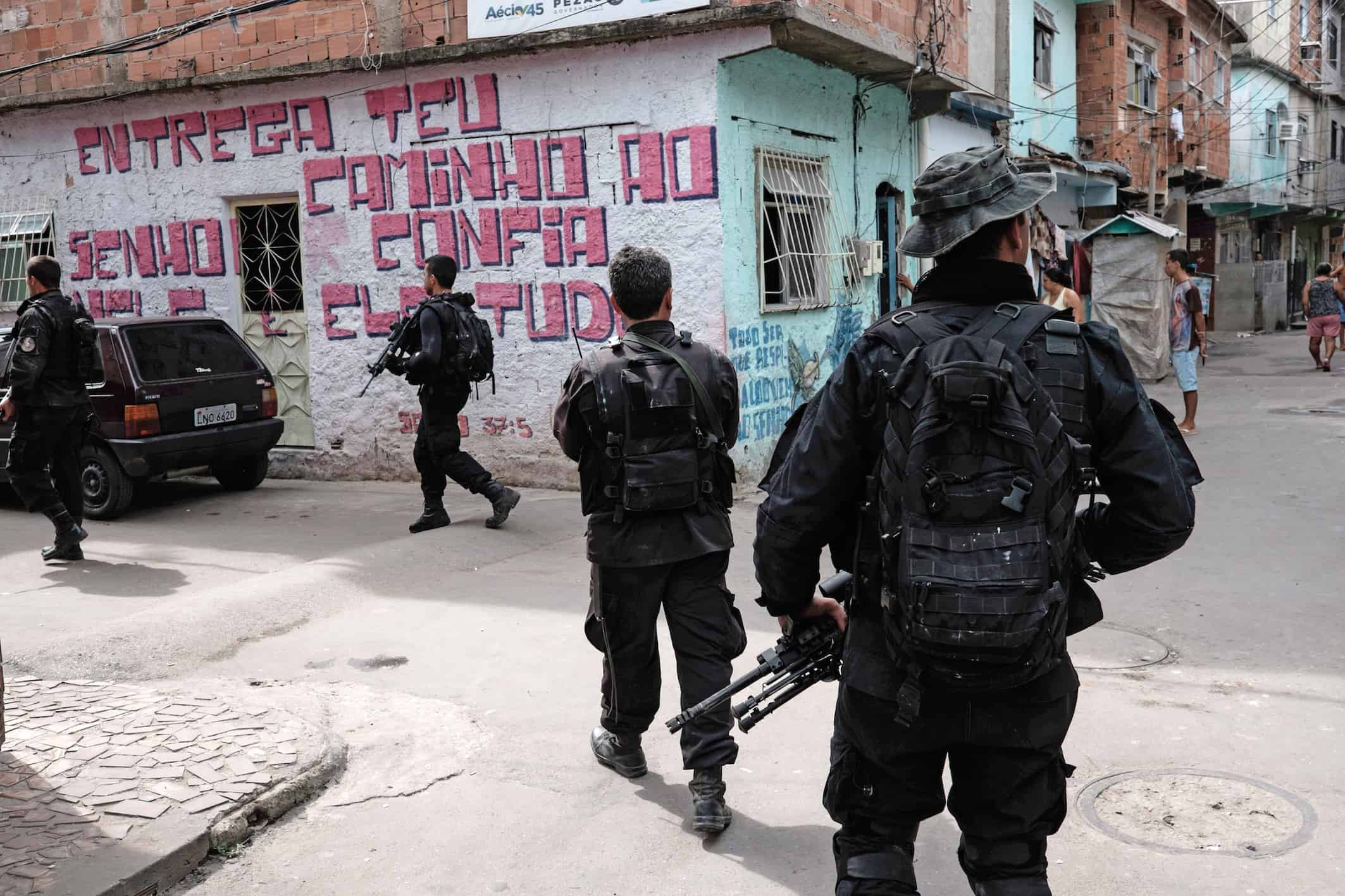 For illustrative purposes only. BOPE police special forces patrol an alley of the Mare shantytown complex in Rio de Janeiro, Brazil, on May 4, 2015.