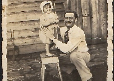 Shelly Rybak as a young girl with her uncle Solomon Schyfter at Finca Chitaria, Paraíso, Costa Rica, circa 1935.